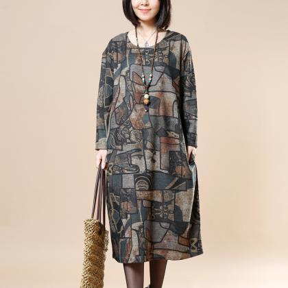 Women Loose Cotton Spring Dress Cas..
