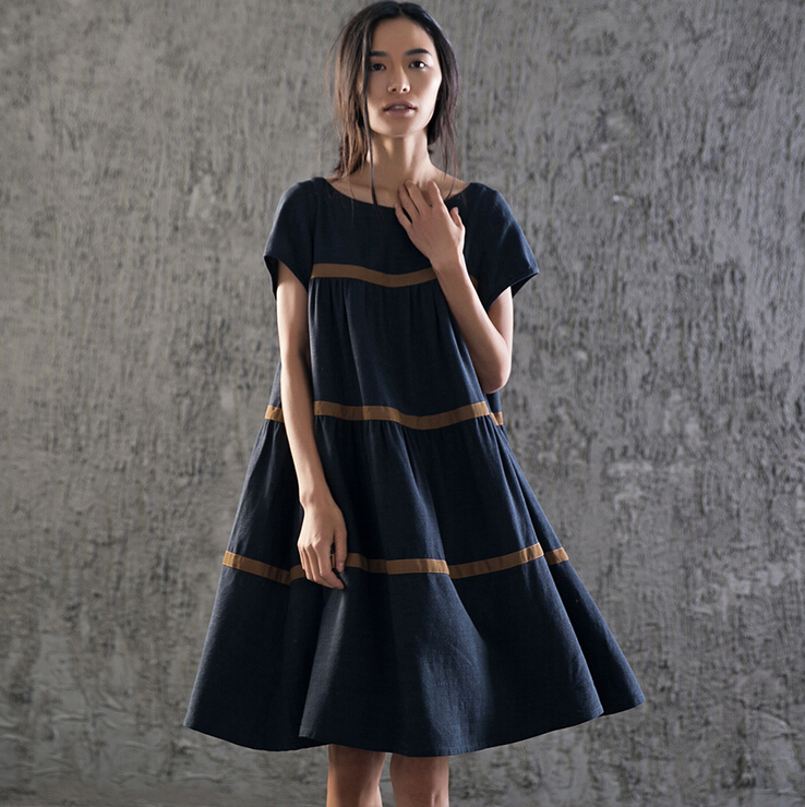 Navy Blue Stripe Short Sleeve Shift Dress, Plus Size Dress