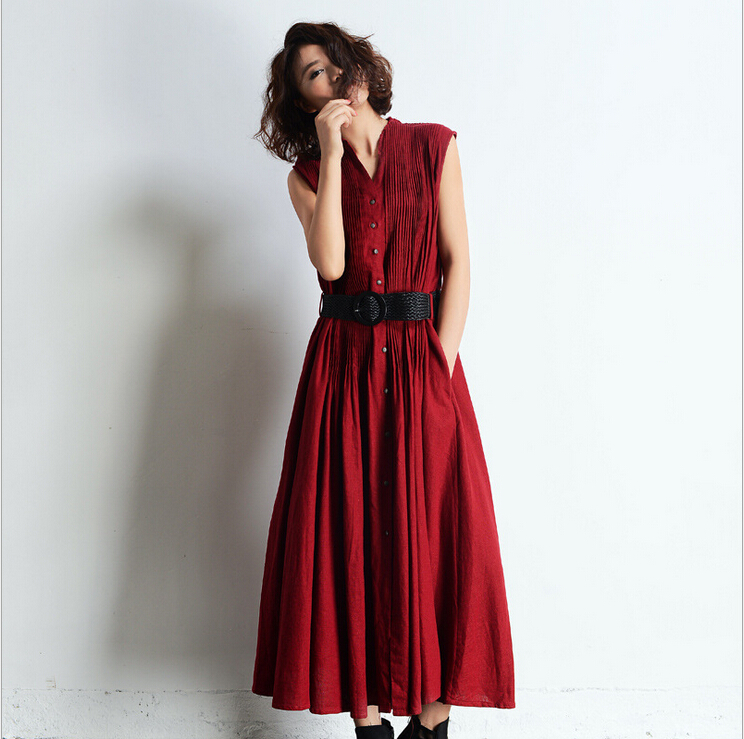 3 Colors Women Casual Maxi Long Skirt Sleeveless Dress