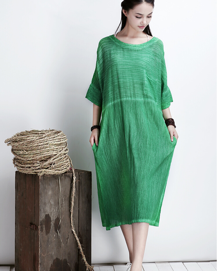 Green Women Thin Cotton Maxi Dress Plus Size Long Skirt on Luulla