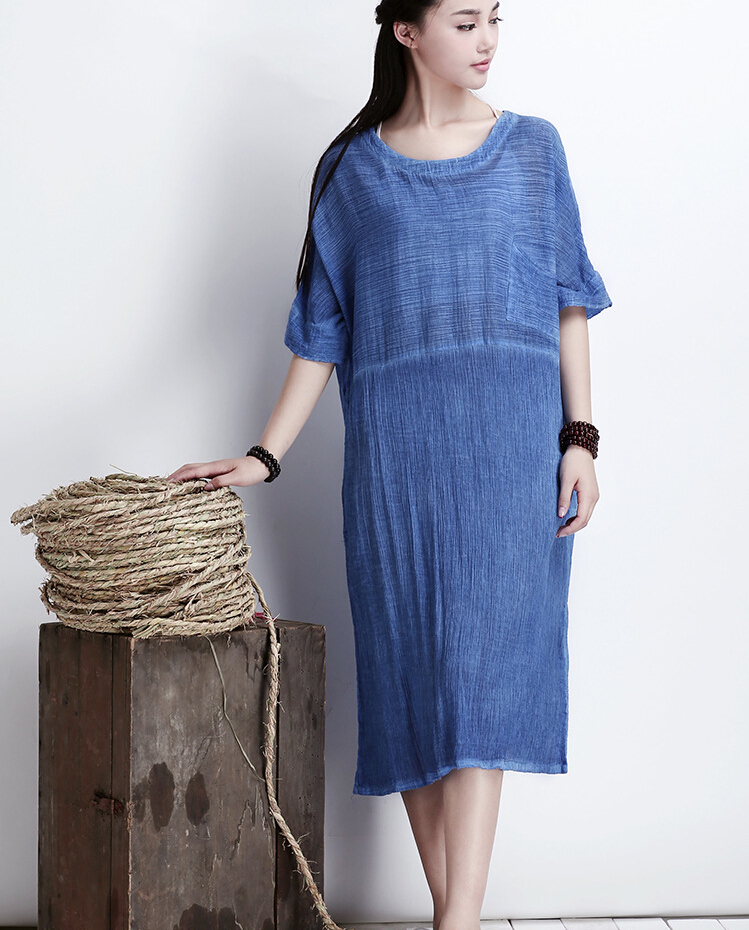 Blue Women Thin Cotton Maxi Dress Plus Size Long Skirt on Luulla