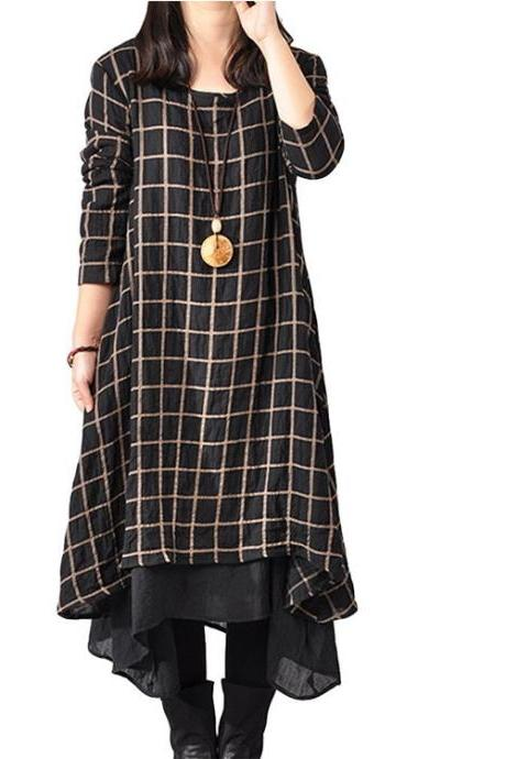 Women's New Plaid Layers Irregular Hem Dress