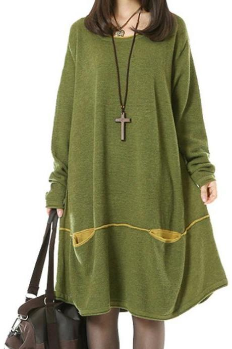 Women's Daily Knitwear Spring Loose Sweater Dress