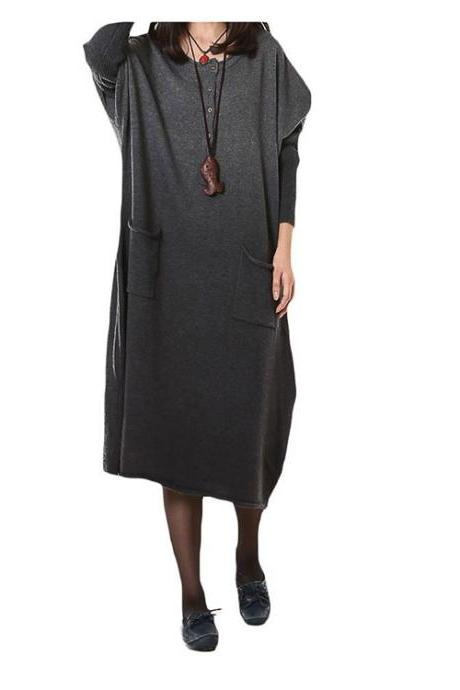 Women's Long Gradient Knit Sweater Pullover Dresses