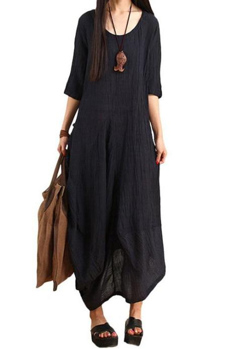 Women's Summer New Half Sleeves Irregular Linen Dress with Back Pocket