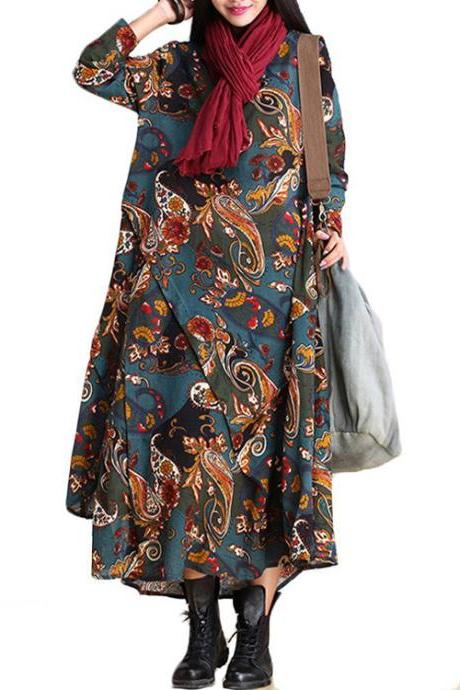 Women's Fall Cotton Linen Printing Irregular Dress with Pockets US XS-M
