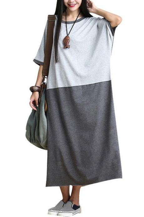 Women's New Color Stitching Cotton Batwing Dress