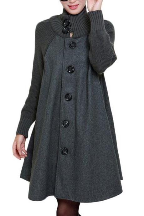 Turtleneck Knitted Wool Button-down Coat
