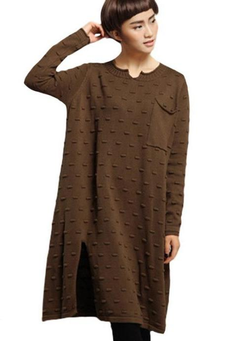 Women's Knitted Long Sleeves Side Slit Sweater Dress with A Pocket
