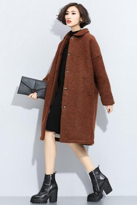 Open-front Long Wool Winter Coat Outerwear